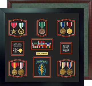 "19"" x 20"" Self Mount 9 Medal Military Shadow Box"