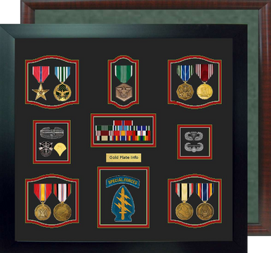 "19"" x 20"" Self Mount 9 Medal Military Shadow Box"