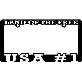 License Plate Frame- Land of the Free USA