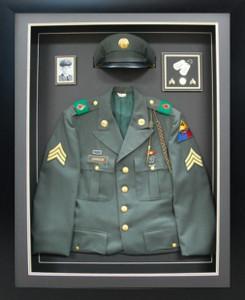 Army Class A Jacket & Hat Custom Shadow Box