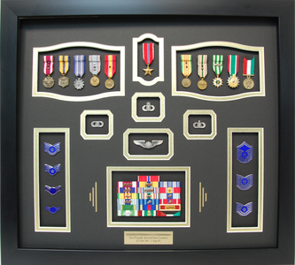 U.S. Air Force Shadow Box Display with Miniature Medals
