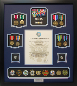 U.S. Coast Guard Certificate of Retirement Shadow Box Display