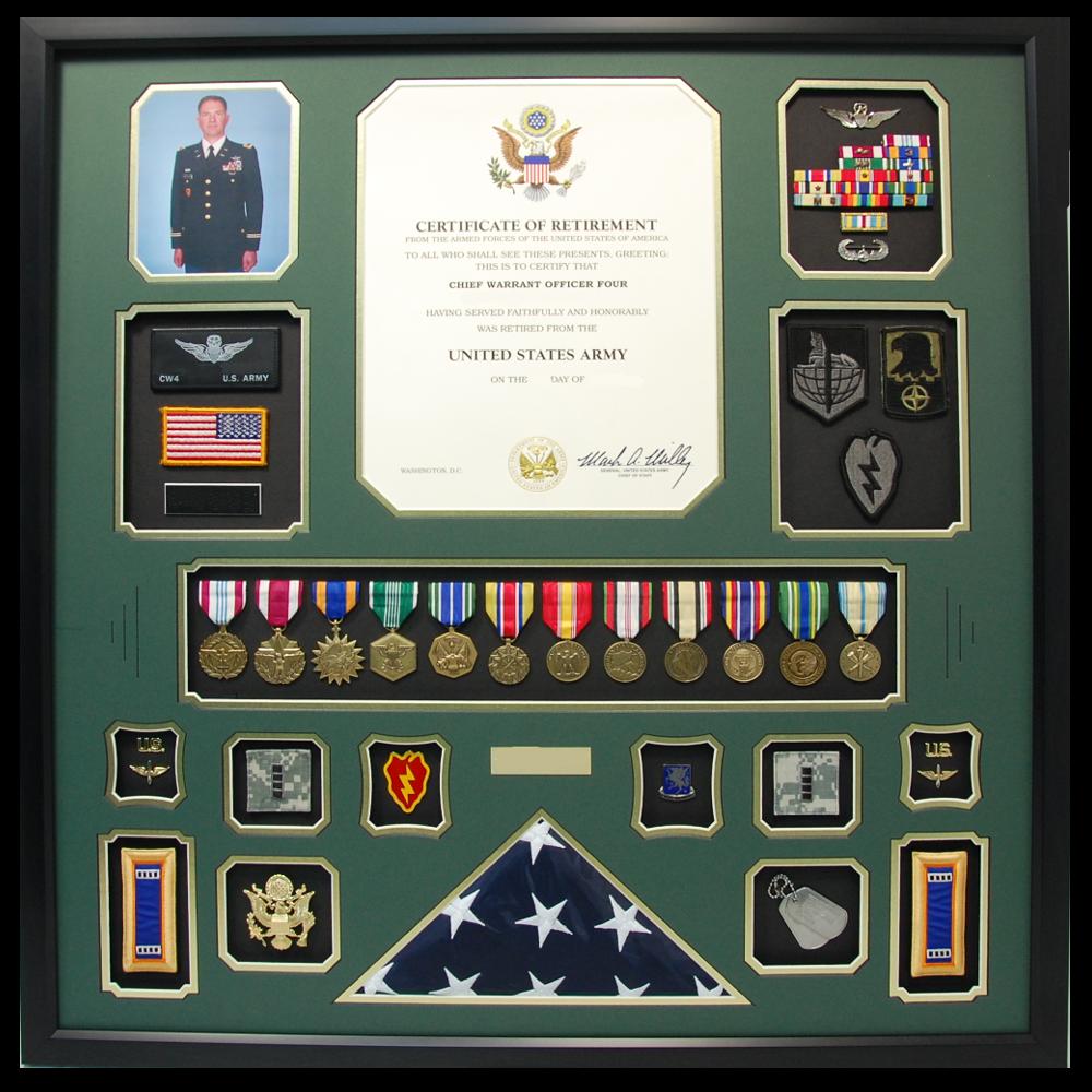 U S Army Cw4 Retirement Shadow Box Display With Flag