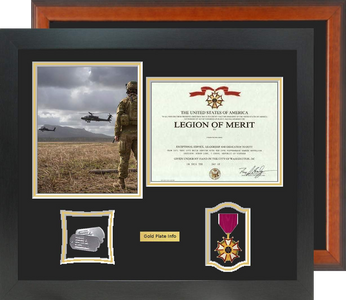 """18"""" x 21"""" Certificate Frame w/ 8"""" x 10"""" Photo and Medal"""