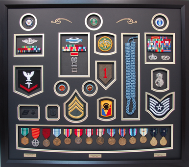 Triple Service Shadow Box Display Navy Army Air Force