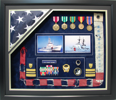 "U.S. Coast Guard 20"" x 24"" Open Shadow Box Display with Flag"