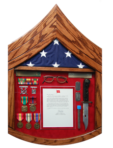 U.S.M.C. Rank Shaped Shadow Box Display