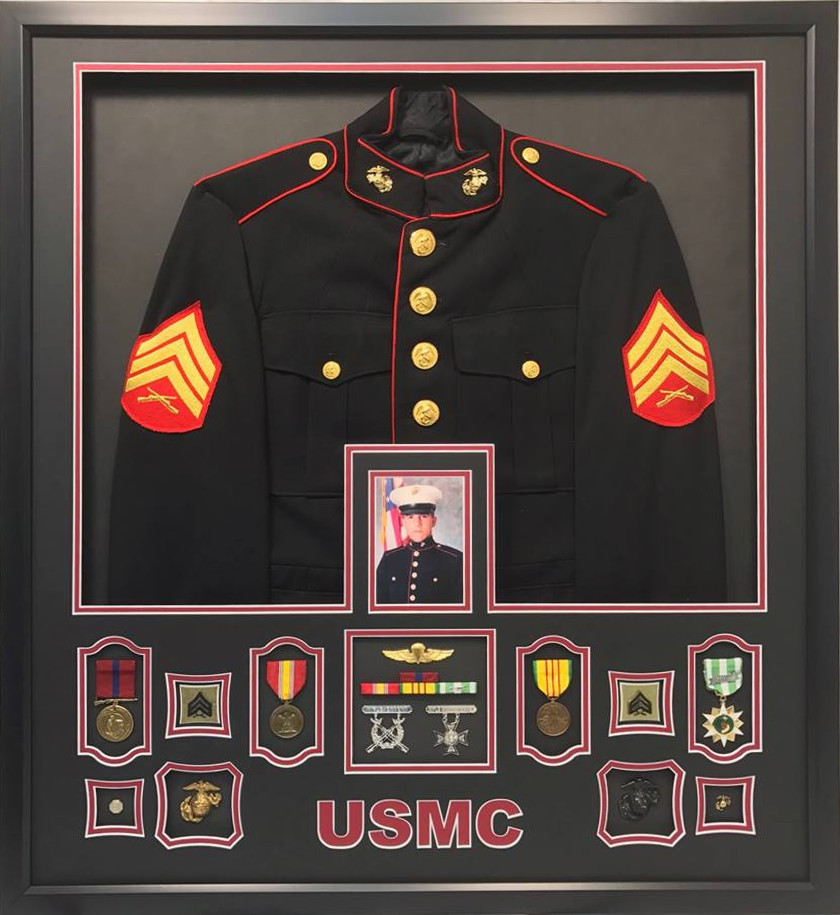 Us Marine Corps Dress Uniform Shadow Box Display