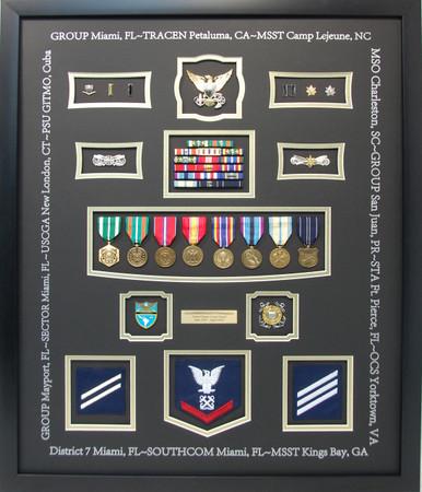 U.S. Coast Guard Shadow Box Display with Inked Duty Stations