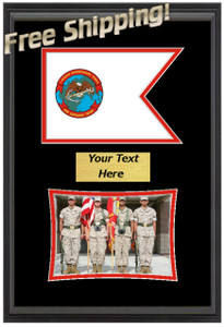 "11"" x 16"" 1st Marine Expeditionary Force Guidon Flag Display w/ Photo"