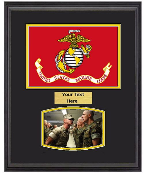 14 X 18 Us Marine Corps Flag Frame W 5 X 7 Photo Military