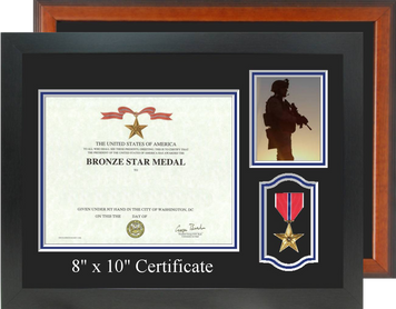 "13"" x 17"" Certificate Frame w/ Photo & Medal Windows"