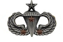 Army Badge: Senior Combat Parachute Third Award - silver oxidized