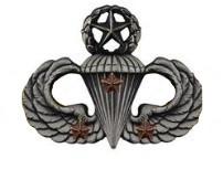 Army Badge: Master Combat Parachute Third Award - silver oxidized