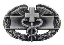 Army Badge: Combat Medical First Award - silver oxidized