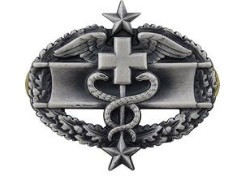 Army Badge Combat Medical Third Award - silver oxidized