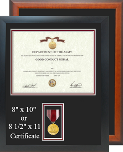 Army Good Conduct Certificate Frame