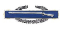 Army Badge: Combat Infantry First Award - regulation size, silver oxidized