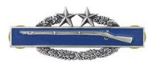 Army Badge: Combat Infantry Third Award - silver oxidized