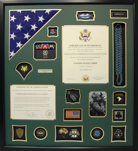 Army Certificate of Retirement Shadow Box Display