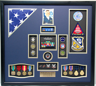 "25"" x 28"" US Navy Blue Angels Shadow Box Display Case"