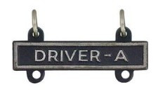 Army Qualification Bar: Driver A - silver oxidized finish