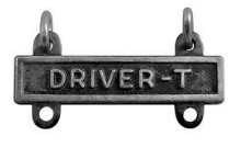 Army Qualification Bar: Driver T - silver oxidized finish