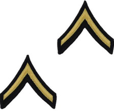 Army Chevron: Private - gold embroidered on blue, male