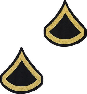 Army Chevron: Private First Class - gold embroidered on blue, male