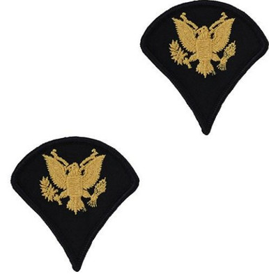 Army Chevron: Specialist 4 - gold embroidered on blue, male