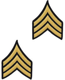 Army Chevron: Sergeant - gold embroidered on blue, male