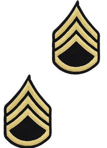 Army Chevron: Staff Sergeant - gold embroidered on blue, male