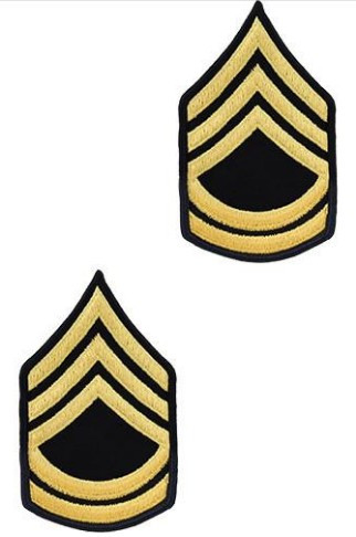 Army Chevron: Sergeant First Class - gold embroidered on blue, male