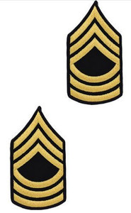 Army Chevron: Master Sergeant - gold embroidered on blue, male