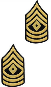 Army Chevron: First Sergeant - gold embroidered on blue, male