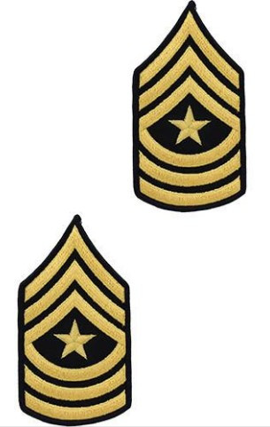 Army Chevron: Sergeant Major - gold embroidered on blue, male