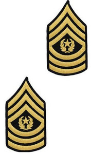 Army Chevron: Command Sergeant Major - gold embroidered on blue