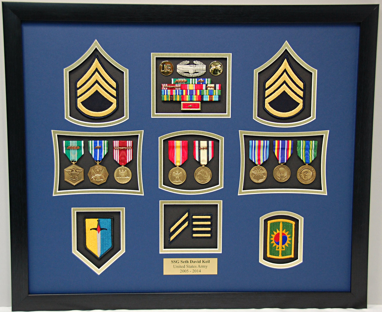 20 Quot X 24 Quot Us Army Ssg Dress Blues Patch Shadow Box Display