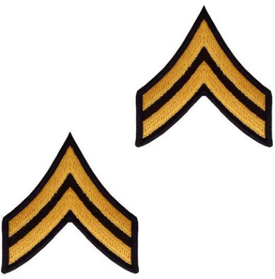 Army Chevron: Corporal - gold embroidered on green, male