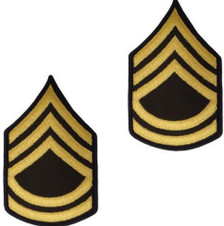 Army Chevron: Sergeant First Class - gold embroidered on green, male