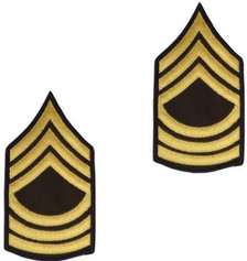 Army Chevron: Master Sergeant - gold embroidered on green, male