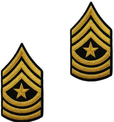 Army Chevron: Sergeant Major - gold embroidered on green, male
