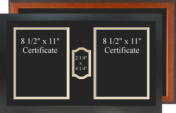 "14"" x 24"" Double Vertical Certificate Frame w/ Medal"
