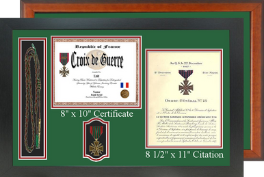 "17"" x 26"" Double Certificate H/V Frame w/ Shoulder Cord or Coins & Medal"