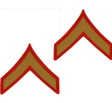 Marine Corps Chevron: Private First Class - gold embroidered on red