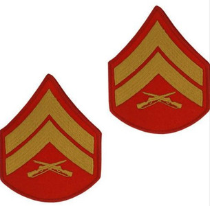 Marine Corps Chevron: Corporal - gold embroidered on red