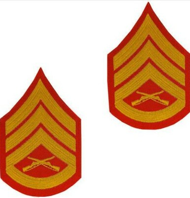 Marine Corps Chevron: Staff Sergeant - gold embroidered on red