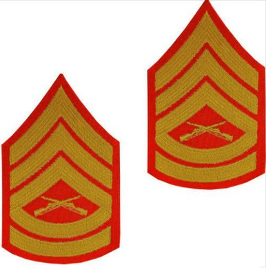 Marine Corps Chevron: Gunnery Sergeant - gold embroidered on red