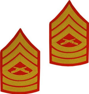 Marine Corps Chevron: Master Sergeant - gold embroidered on red