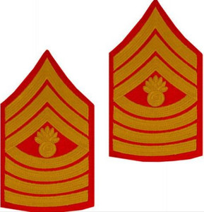 Marine Corps Chevron: Master Gunnery Sergeant - gold on red